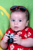Baby boy dressed in photographer — Zdjęcie stockowe