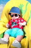 Baby boy dressed in tourist — Foto Stock