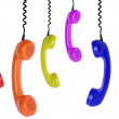 Six colored phones hanging — Stock Photo #46289677