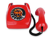 Open telephone vintage red phone  — Stock Photo