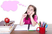 Pensive girl in school — Photo