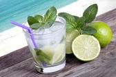 Cocktail mojito cannucce di limone nelle isole spiaggia tropicale di ghiaccio nuovo — Foto Stock