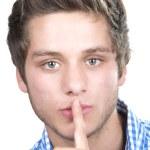 Teen boy making a quiet gesture  — Stock Photo #46301883