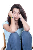 Depression teen girl cried lonely isolated — Stock Photo