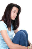 Depression teen girl cried lonely — Stock Photo
