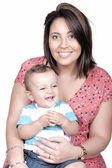 Retrato de bom rapaz com mãe — Fotografia Stock