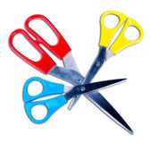 Three colors scissors — Stock Photo