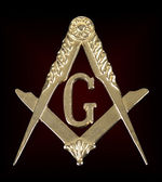 Freemasonry golden medal  square & compass — Stock Photo