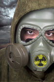 Portrait of soldier with gas mask  — Stock Photo