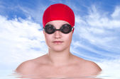 Pretty girl swimmer  — Stock Photo