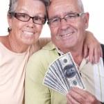 Elderly couple holding bills — Stock Photo #46452547