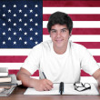 Young boy student on the background with american flag — Stock Photo