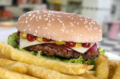 Beef hamburguerwith french fries (3) — Stock Photo