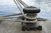 Old mooring bollard in port of Tenerife. Spain — Stock Photo