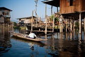 Pływające domy na inle lake myanmar — Zdjęcie stockowe