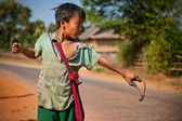 Young boy from Myanmar uses sling — Stock Photo