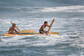 Indian fishermen coming back from the sea — Stock Photo