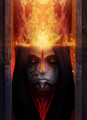 Fire goddess portrait — Stockfoto
