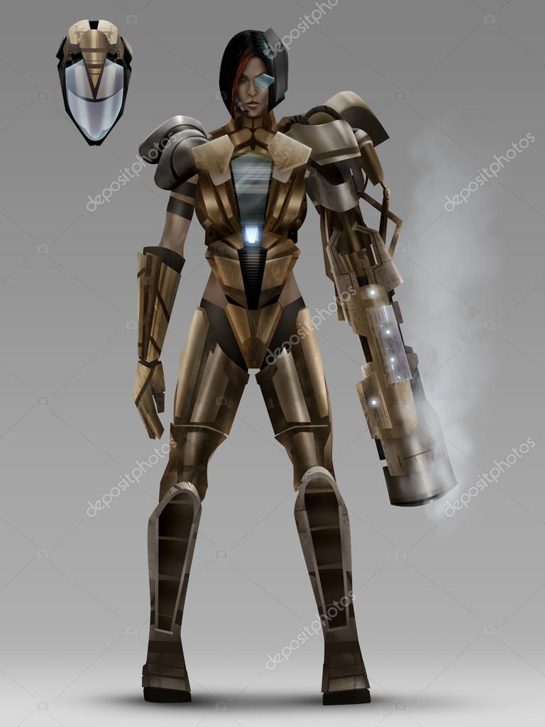 futuristic woman cyber armor costume � stock photo