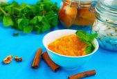 Pumkin puree with mint and cinamon  — Stock Photo