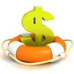 Orange lifebuoy with green dollar symbol. save your money — Stock Photo #45814481