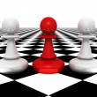 Leadership concept red pawn forward white pawns team group — Stock Photo #45814367