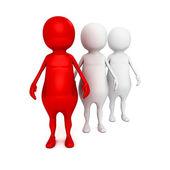 Red 3d leader man of team. business boss concept — Zdjęcie stockowe