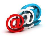 Set of colorful shiny at e-mail symbols on white — Photo