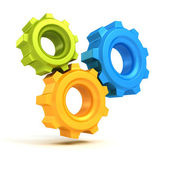 Concept work cogwheel gears symbol icon on white background — Stock Photo