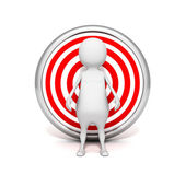White 3d man behind target. business success — Stock Photo