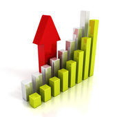 Business chart graph and rising up red arrow — Stock Photo