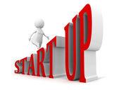 START UP business concept text ladder walking 3d businessman — Stock Photo