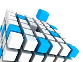 Different blue cube standing out from white cubes build structur — Stock Photo