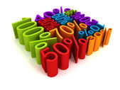 All colorful percent discount sale price numbers cube shape — Foto Stock
