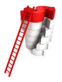 Concept success ladder to top red Dollar symbol — Stock Photo