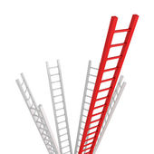 Red Ladder leader as a concept idea of success or leadership tea — Zdjęcie stockowe