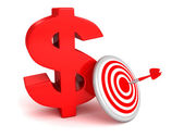 Bid red dollar symbol with darts target and arrow bull eye — Stock Photo