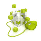 Green computer mouse connect to abstract cubes structure — Stock Photo