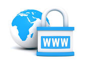 Blue earth globe sphere and www security padlock — Stock Photo