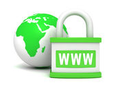 Green earth globe and padlock — Stock Photo