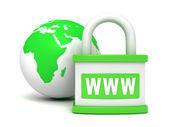Green earth globe and padlock — Stock Photo