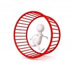 3d white businessman runs in hamster wheel — Stock Photo #46081867
