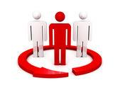 3d red leader team icon with arrow — Zdjęcie stockowe