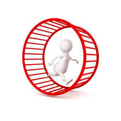 3d white businessman runs in hamster wheel — Stock Photo