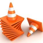 Stack of orange road traffic cones — Stock Photo