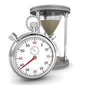 Zandloper en stopwatch — Stockfoto