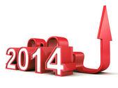 Año 2014 con creciente flecha — Foto de Stock