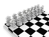 Chessboard with  Dollar  symbols — Stockfoto