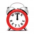 Red alarm clock concept time to work — Stock Photo