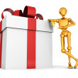 3d golden man with big gift box — Stock Photo #46329217